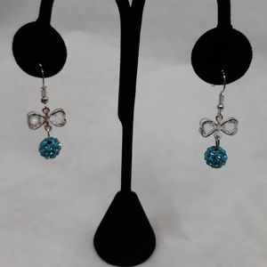 Crystal Ball Bow Earrings